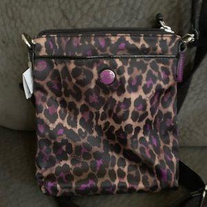 NWT Coach purple leopard print bag